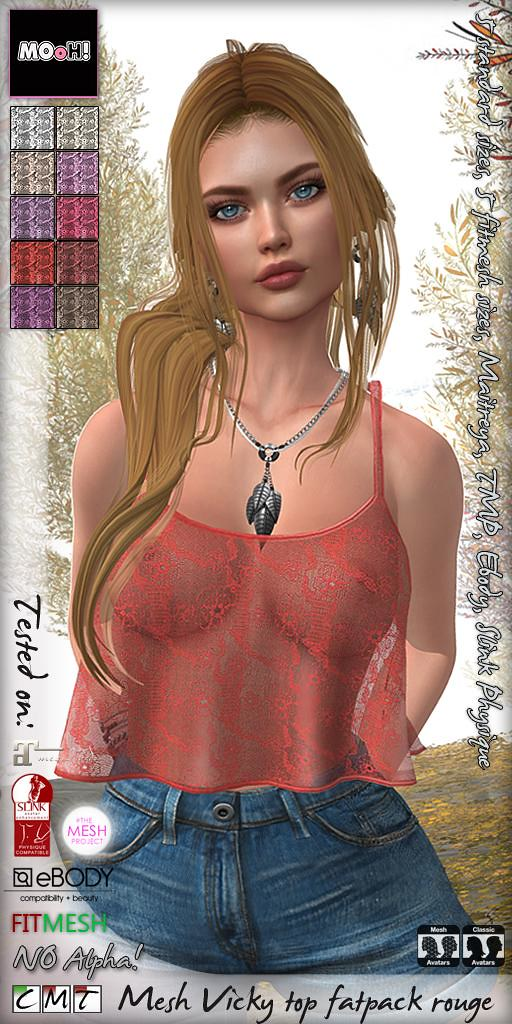 Vicky top fatpack rouge - SecondLifeHub.com