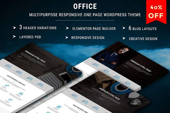 OFFICE v1.0 – One Page WordPress Theme