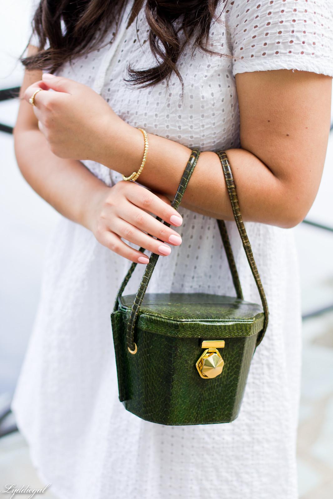 white eyelet lace dress, green snake box bag, cherry pumps-5.jpg