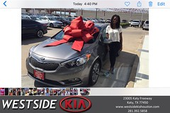 Happy Anniversary to Tominisha on your #Kia #Forte from Luis Espinoza at Westside Kia!