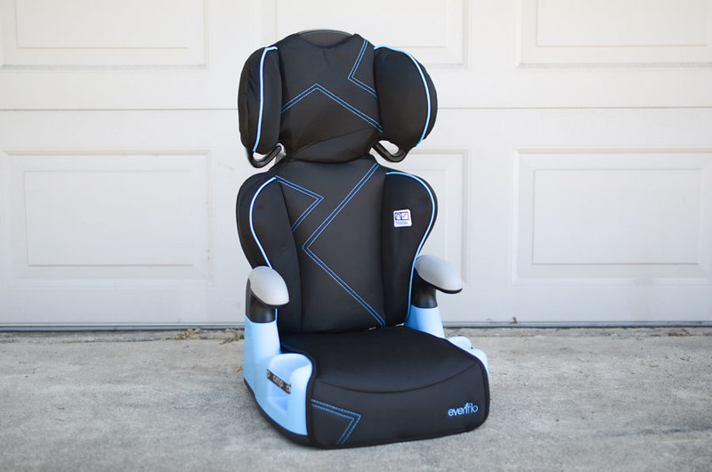 black and blue baby car booster seat