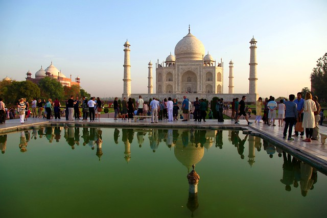 The Taj Mahal. Tourists and reflections