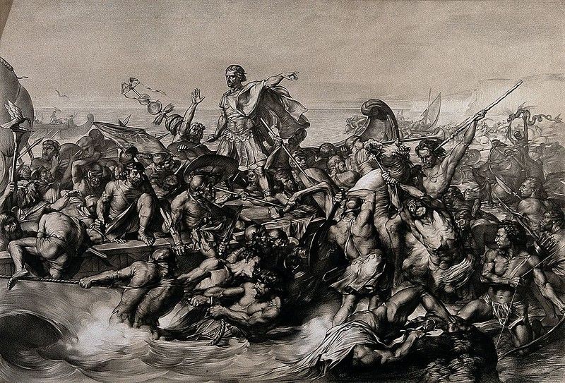 First invasions of Julius Caesar in Britain, by Edward Armitag