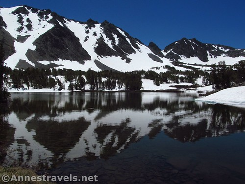 The uppermost Frog Lake along the Virginia Lakes Trail in the Hoover Wilderness of California