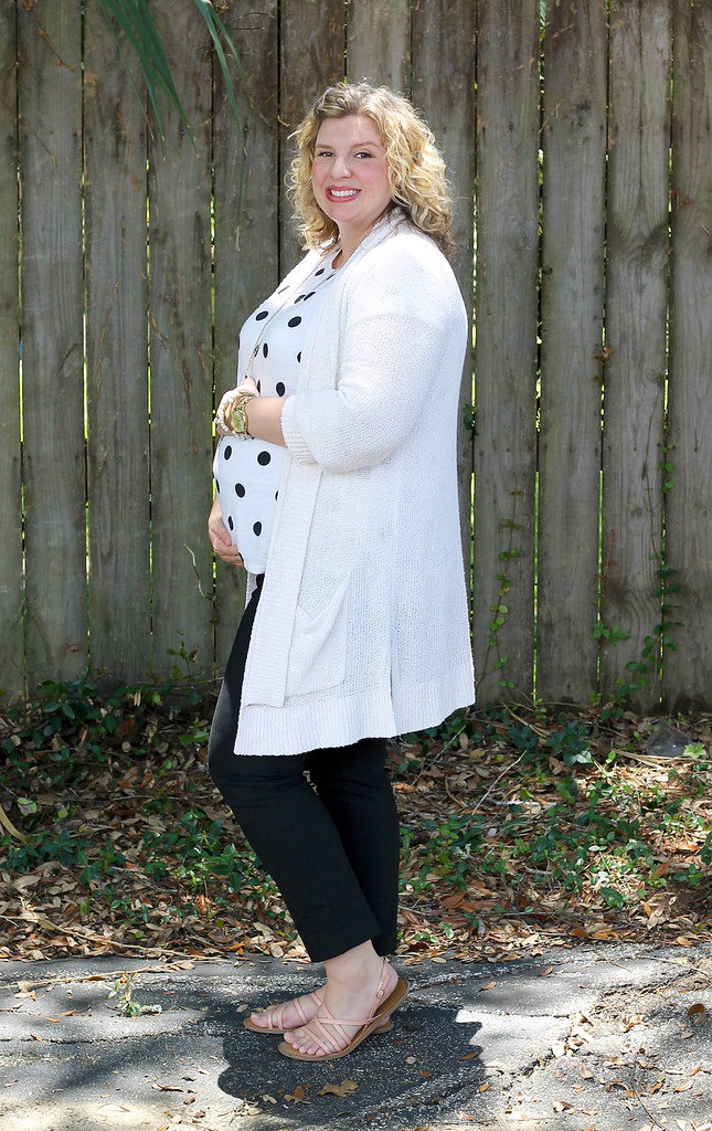 maternity black pants, white and black polka dot tee, long cream cardigan 2