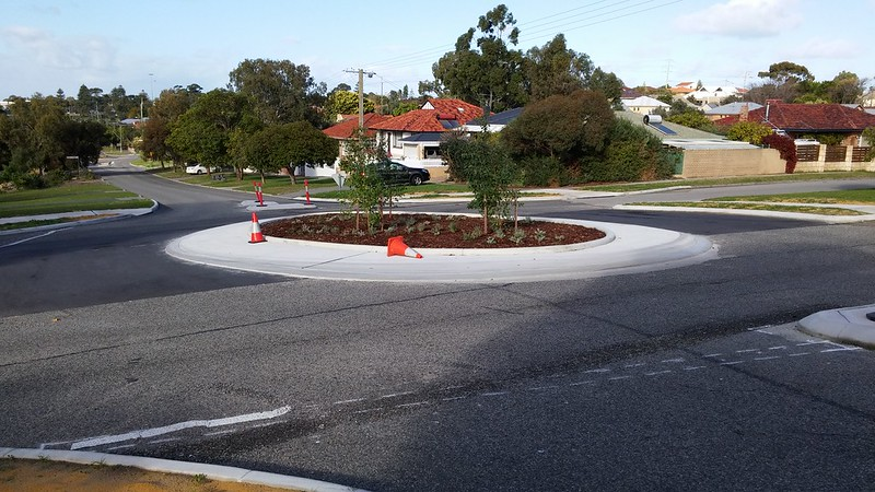 New roundabout on Watkins Street, White Gum Valley