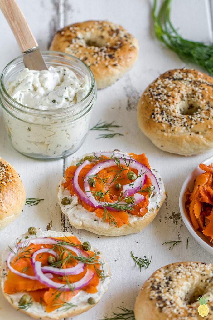 Fluffy New York-Style Bagels w/ Vegan Carrot Lox {vegan, oil-free} sweetsimplevegan.com #bagels #newyorkbagels #oilfree #vegan #veganlox