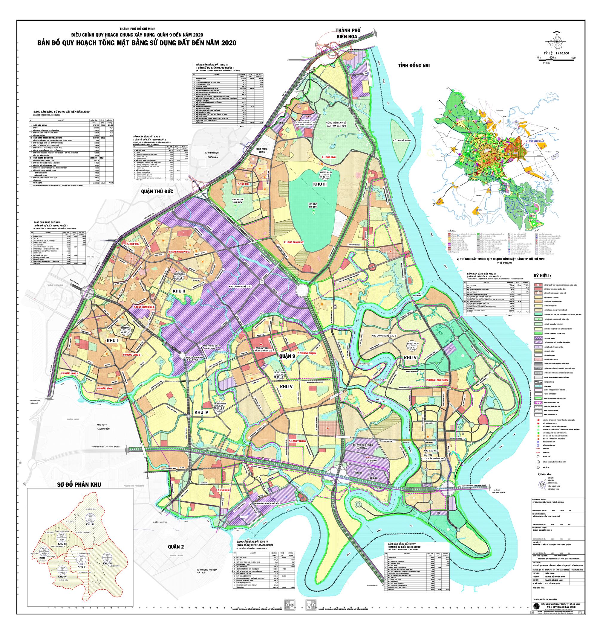 bản đồ quy hoạch tổng mặt bằng sử dụng đất quận 9