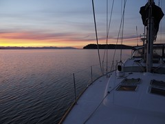 heading back to port at dawn
