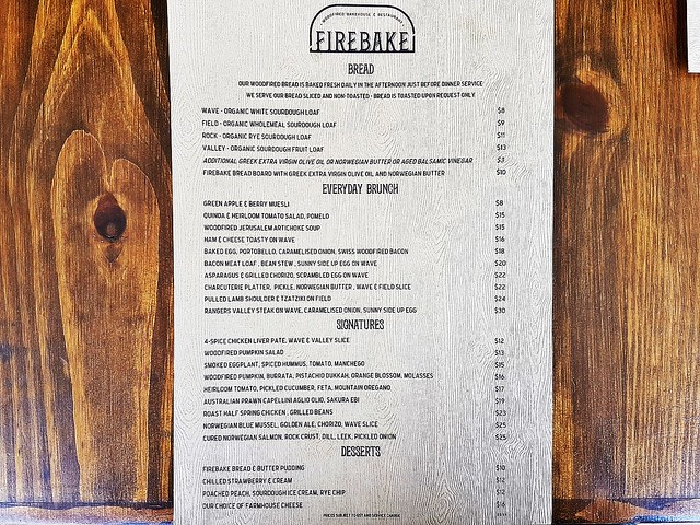 Firebake Menu Brunch