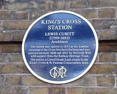 Photo of Lewis Cubitt and King's Cross railway station, London blue plaque
