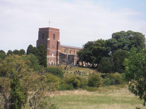 All Saints' Church, Shillington, from footpath