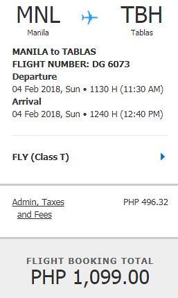 Manila to Tablas Feb 4, 2018 Promo