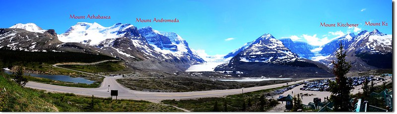 Looking south at Columbia Icefield from Columbia Icefield Glacier Discovery Centre 1-1