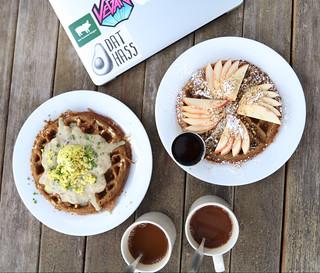 Feast Waffle & Blue Corn Waffle - A.N.D Cafe | Portland Vegan Food Tour 2017 #portland #vegan sweetsimplevegan.com