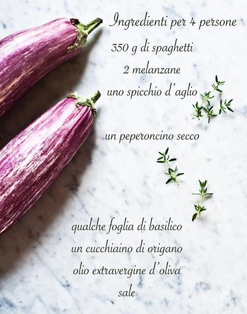 Ingredienti - Spaghetti con melenzane