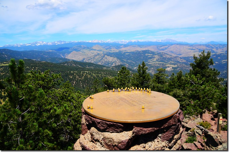 The summit marker on Green Mountain identifies distant peaks