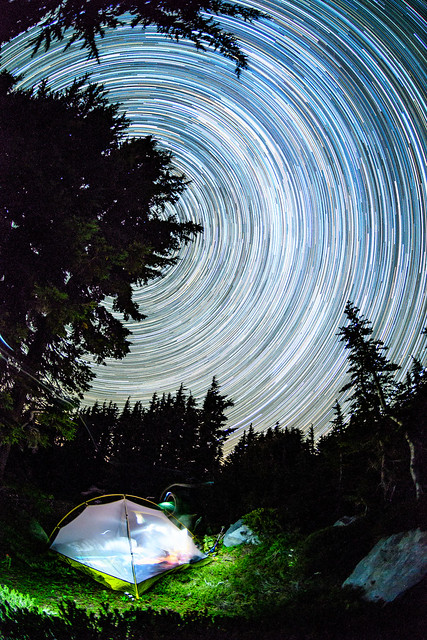 Star trails over campsite, Nikon D500, AF DX Fisheye-Nikkor 10.5mm f/2.8G ED