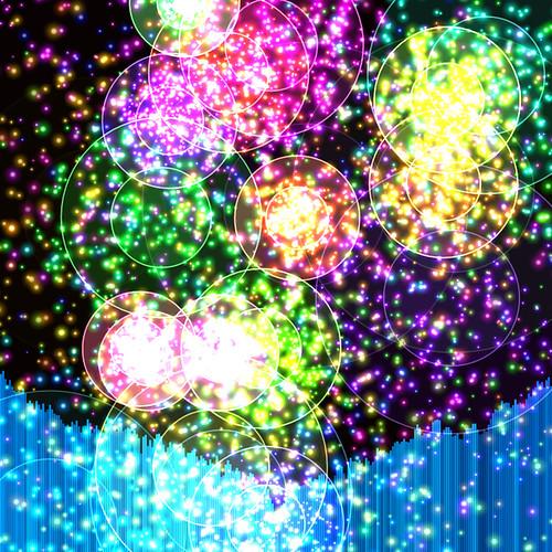 JS_Music Player_SS_(2017_08_01)_2_Cropped_1 HTML5 ミュージック プレイヤーのスクリーンショット画像。 黒い背景の上に多数の色とりどりの二重の光る円環があり、円環の中心からその円環と同色の多数の輝く粒子が放出されている。 画面の下方には音楽のスペクトラム アナライザーのヴィジュアライザーが描画されており、垂直の青色のバーが多数横方向に並んで伸び縮みしている。 青色のバーは明るさ色相に微妙なグラデーションが掛かっている。