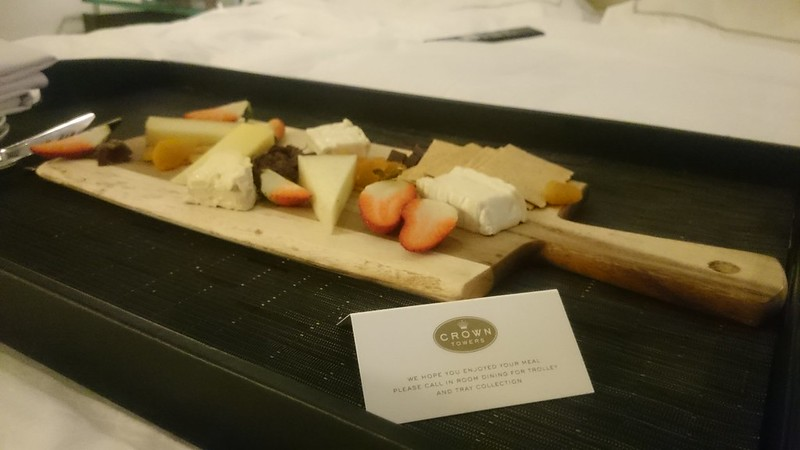 Crown Towers Staycation cheese board room service