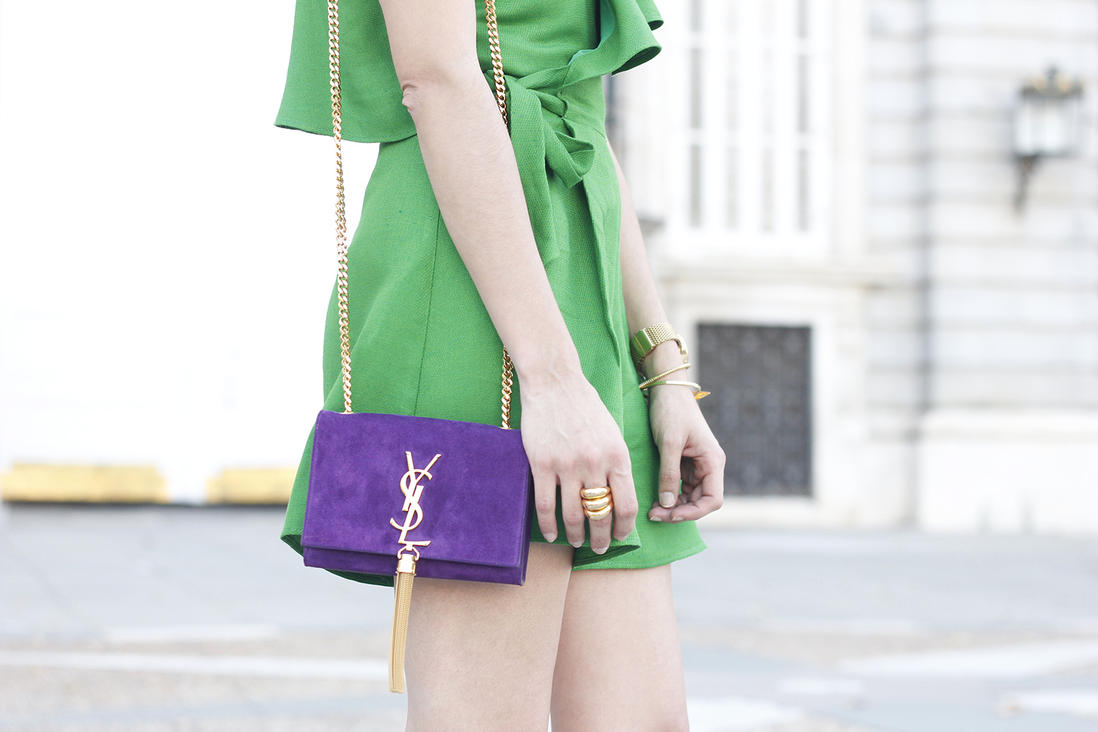 Green jumpsuit ysl bag heels uterqüe accessories summer outfit fashion17