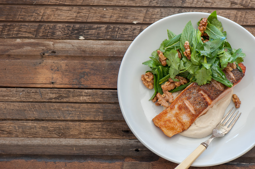 Crispy Fish with Tahini Yoghurt + Herby Walnut Salad
