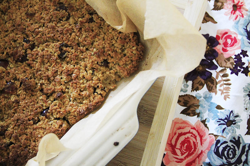 Traditional cherry flapjack recipe UK lifestyle blogger food