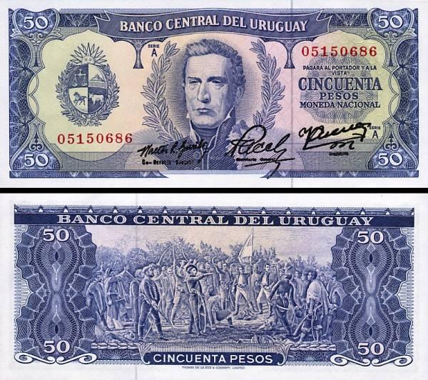 50 Pesos Uruguay 1967, P46a