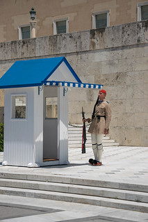 A presidential guard at his post on Syntagma square in Athens, Greece