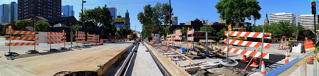 Streetcar Track Construction, North Jackson Street and East State Street (Looking South)