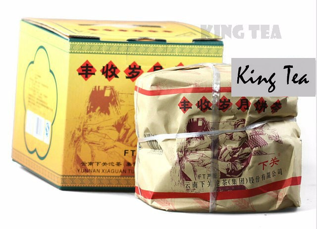 Free Shipping 2011 XiaGuan Harvest Cake 357g China YunNan KunMing Chinese Puer Puerh Raw Tea Sheng Cha Weight Loss Slim Beauty