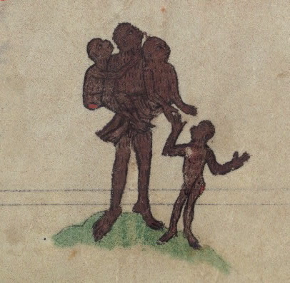 Ape family (mocking of human funerals?), detail from fol. 76r.