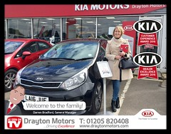Mrs Bradshaw collecting her Rio from Richard. Mrs Bradshaw is a new customer of ours so is welcomed in to our Family!