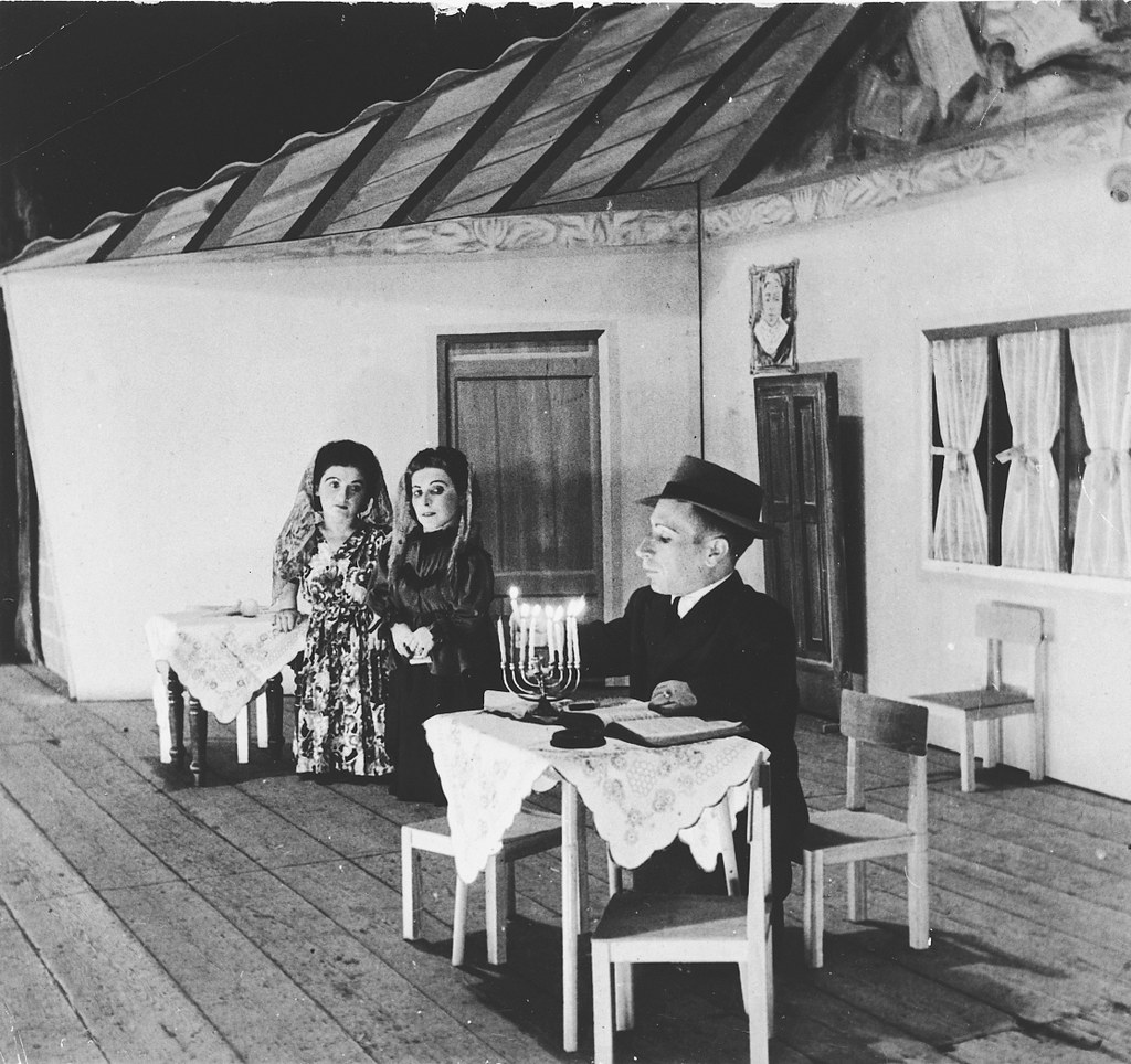 005---Members of the Ovici family, a family of Jewish dwarf entertainers who survived Auschwitz, perform a Hanukkah skit on stage - 1950-54