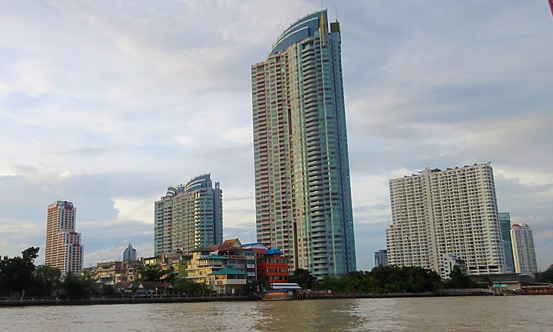 Boats Buildings Chao Phraya River Bangkok