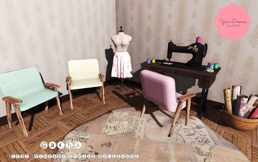 {YD}Vintage Sewing Background - SecondLifeHub.com