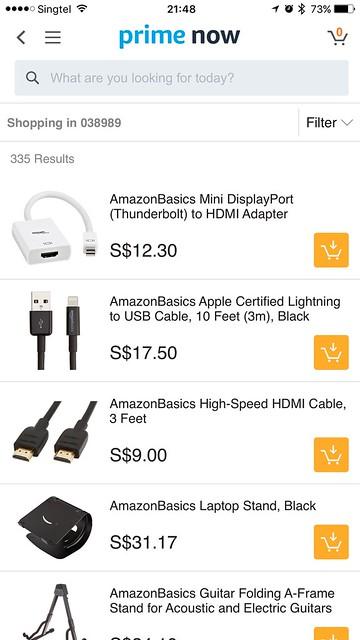 Amazon Prime Now iOS App - AmazonBasics Electronics