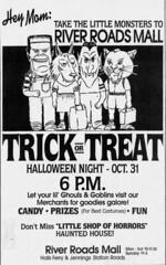 River Roads Mall Trick or Treat newspaper ad (1990)