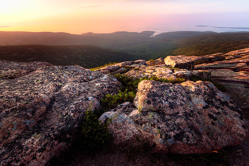 glow usa landscape travel foreground nationalpark mountains sunrise formation acadia ocean east rocks barharbor maine unitedstates us
