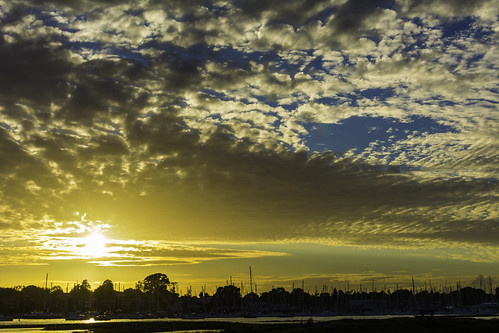 sunset clouds outside trees masts hamble uk hampshire evening blue orange chriswillis3 nikond5200 summer water