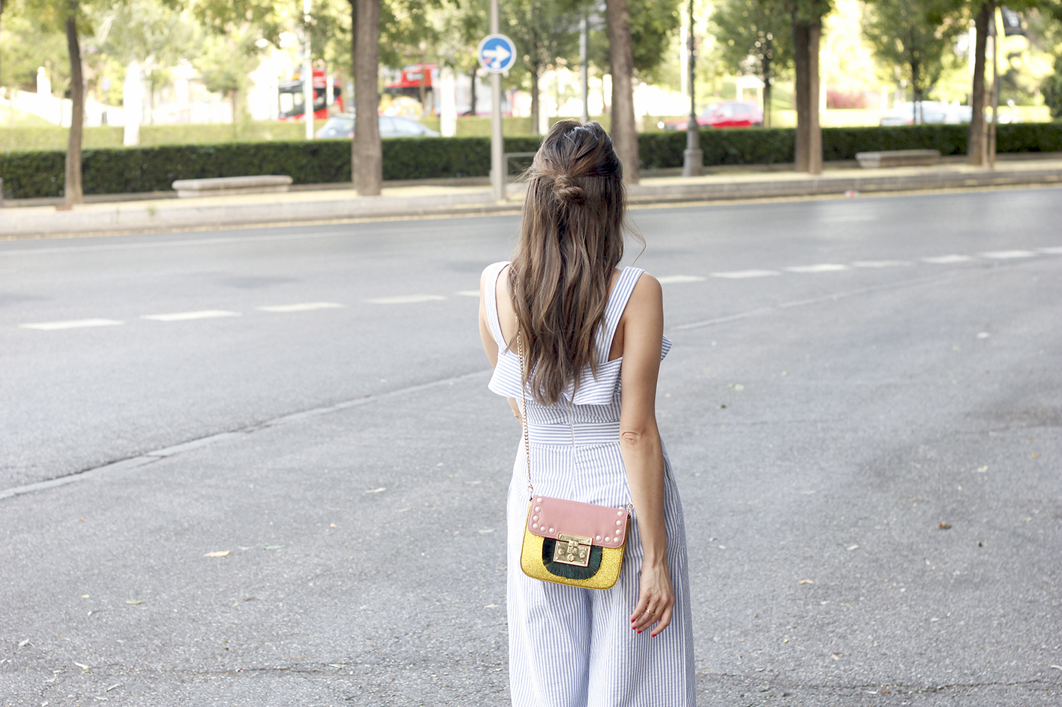 Strped Jumpsuit uterqüe bag heels summer outfit style fashion01