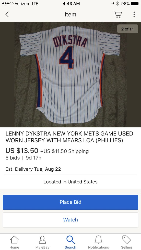 new arrival a777c 13b8e TheMediagoon.com: Mets: Game Used Lenny Dykstra Jersey
