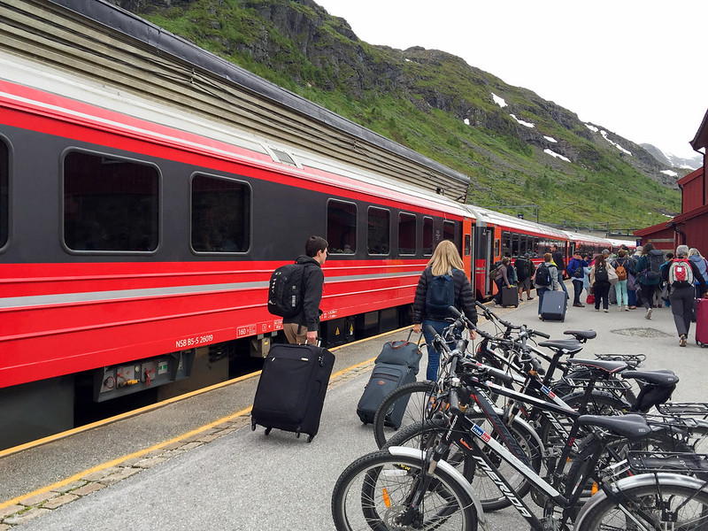 Getting off the train in Myrdal