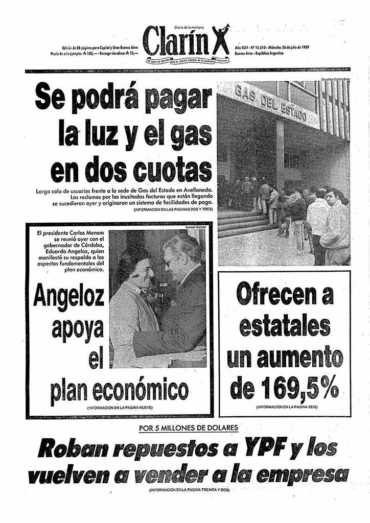 Tapa de Clarín julio 1989