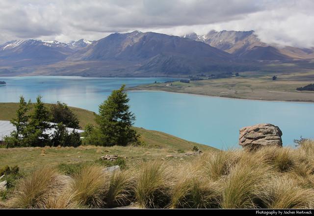 Lake Tekapo seen from Mount John Observatory, New Zealand