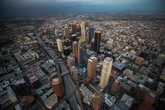 DTLA Skyline Heli View
