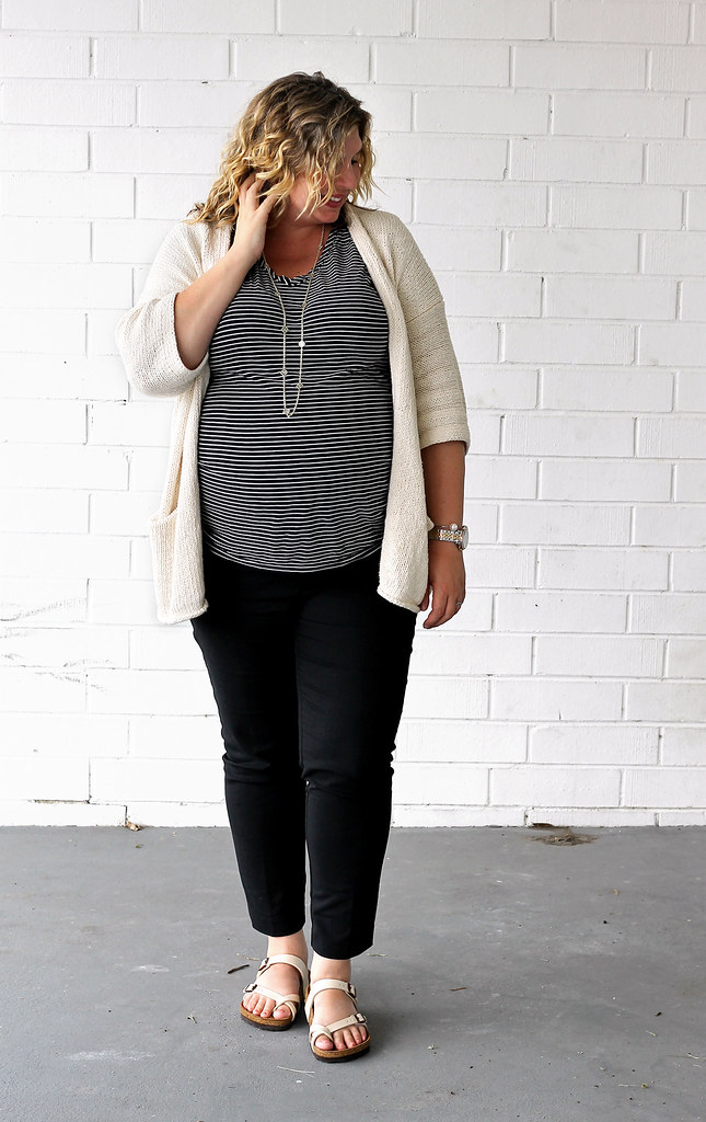 maternity black pants, black and white stripe tee, kimono cardigan, birkenstocks 5