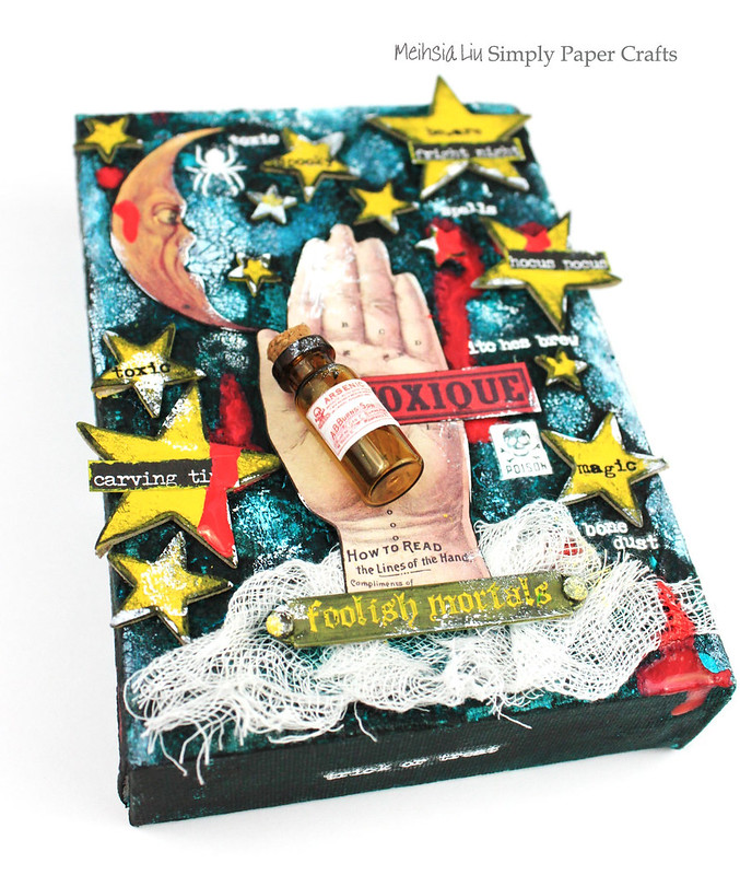 Meihsia Liu Simply Paper Crafts Mixed Media Canvas Halloween Tim Holtz Hand Simon Says Stamp1