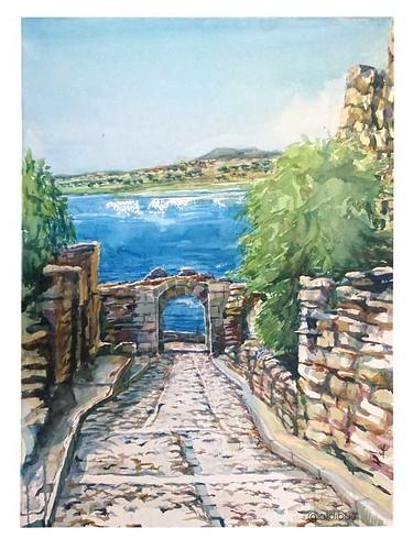 Arco de la muralla y ruinas del Castillo de la Mora Encantada. Al fondo el embalse de Santa Teresa, Salvatierra de Tormes.