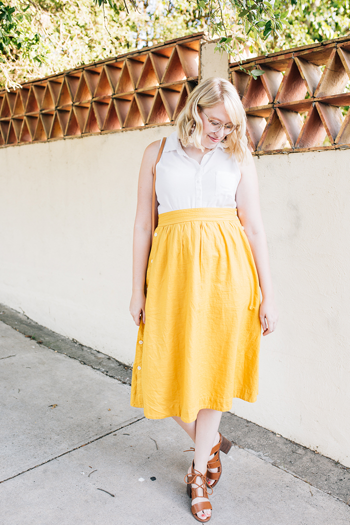 austin fashion blogger writes like a girl madewell yellow midi skirt6